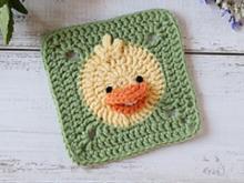 crocheted duck granny square